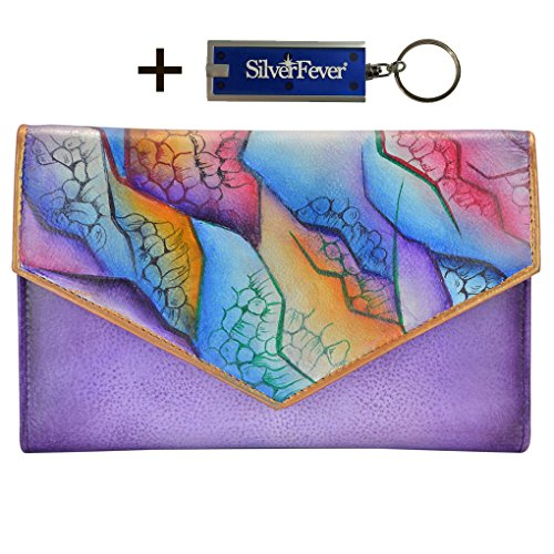 Anuschka Genuine Leather Hand Painted Envelope Wallet Clutch With Key Foab - Anuschka Genuine Leather