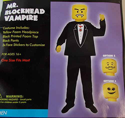 Blockhead Costumes (Mr. Blockhead Vampire Adult Costume OSFM NIP)