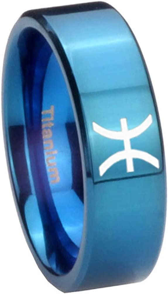 6MM, 8MM Size 4 to 13 Blue IP Titanium Pisces Zodiac Pipe Cut Engraved Ring