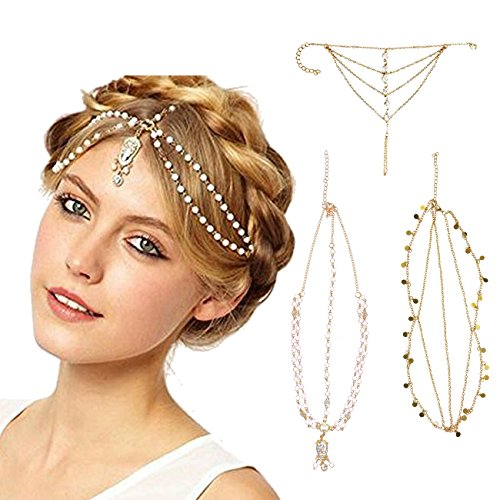 DRESHOW Head Chain Hair Accessories Bohemian Diamond Pearl Tassel Hair Band Alice Band Gold Leaf Chain Headband 3 Pack (Best Figure Size In Bollywood)