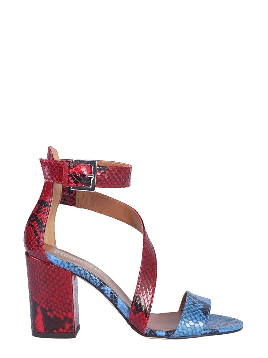 - PARIS TEXAS Women's PX157PMPYTHONblueERED Multicolor Leather Sandals