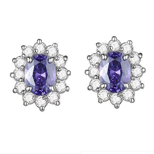 KIVN Fashion Jewelry Amethyst Princess CZ Cubic Zirconia Bridal Wedding Princess Diana Earrings for Women (Amethyst) -