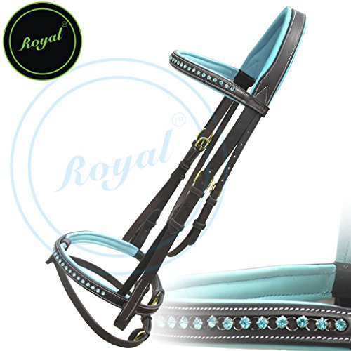 Royal Blue Round Ring Diamond Leather Bridle with PP Rubber Grip Reins and Brass Buckles | Equestrian Show Jumping Padded Bridle Set | English Horse Riding Premium Tack | Havana | Horse