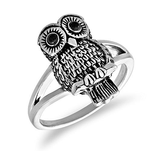 Oxidized Owl - WithLoveSilver Sterling Silver Women's Lovely Oxidized Owl Enamel Eyes Ring