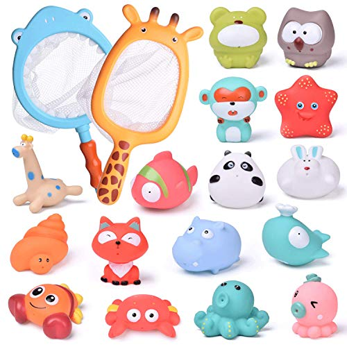 FunLittleToy 18 PCs Baby Bath Toys with Soft Cute Ocean Animals Bath Squirters and Fishing Net, Water Toys for Kids, Birthday Gifts for Boys & Girls