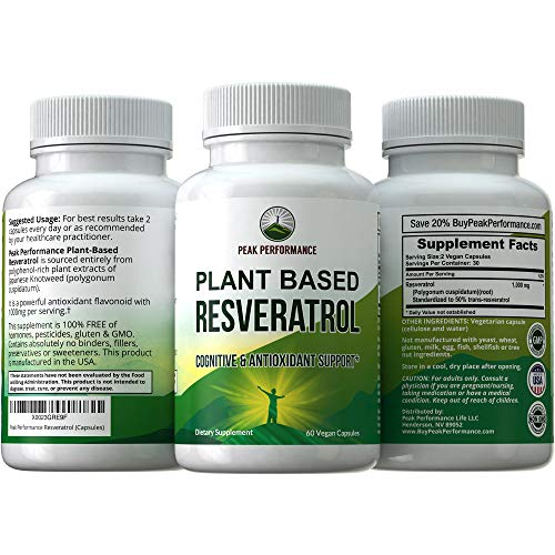 51arNBWjI4L - Resveratrol 500mg - Best Plant Based Resveratrol Supplement by Peak Performance. Made in USA. Capsules Rich in Polyphenols from Natural Plant Extracts. 2 Pills Equals 1000mg. Reservatrol Supplement