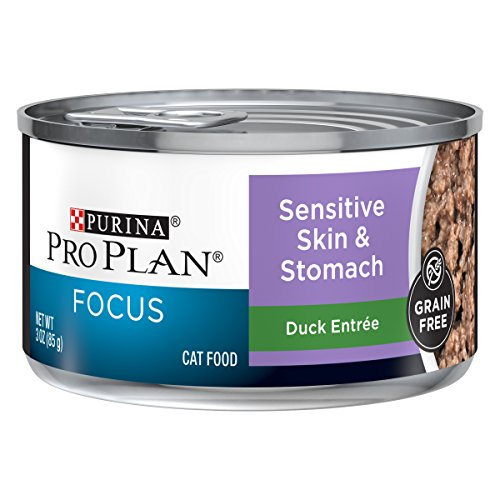 Purina Pro Plan Sensitive Stomach, Grain Free Wet Cat Food; FOCUS Sensitive Skin & Stomach Duck - 3 oz. Pull-Top Can (Pack of 24)