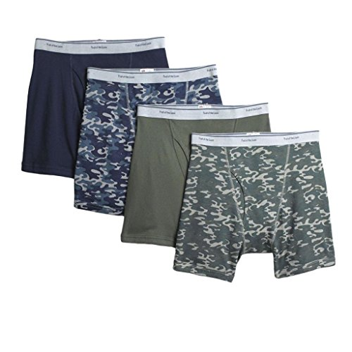 Fruit of the Loom Men's 4-Pack Camo / Camouflage Boxer Briefs Cotton Underwear, Small