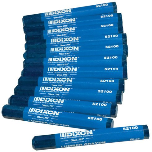 - Dixon 52100 Industrial Lumber Crayon - Blue - 12 per Package