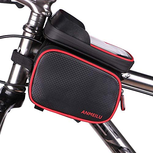 FLQ123 for Below 6.5 inch Phone Bike Frame Bag, Cycling Waterproof Sensitive Mountain Cellphone Touch Screen Road Bike Front Frame Tube Large Storage Bag Phone Holder