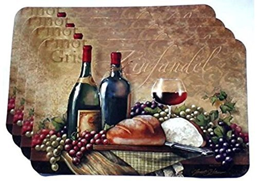 Wine Themed Plastic Placemats - Set of 4 by Greenbriar