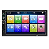 Car Stereo 7' Touchscreen Digital Media Stereo Double Din Car GPS Navigation Stereo Digital Multimedia MP5 Player Bluetooth 1080P Car Rear View (Without Camera)