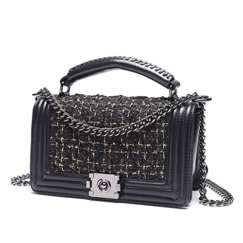 Bags Woman Bag Vintage Padded Women Handbags Shoulder Strap Zpfmm Cross Body Bag Chain With Black pcvnWUq
