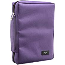 Promo Poly-Canvas Bible / Book Cover w/Fish Applique (Medium, Dahlia Purple)