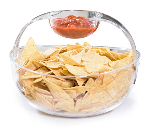 Ready Set Chip - Adorn Crystal Clear Plastic Chips n' Dips Bowl | Salad Bowl | Fruit Bowl | Vegetable Bowl | Removable Arch Dip Cup