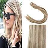"Sunny 20"" Tape in Hair Extensions Human Hair #18/613 Dark Ash Blonde Mixed Bleach Blonde Highlighted Balayage Tape on Remy Hair 50g/20pieces"