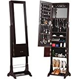 LANGRIA Full-Length Lockable Standing Jewelry Cabinet Armoire and Storage Organizer with Extra Wide Mirror LED lights 2 Drawers for Rings Earrings Bracelets Cosmetics (Brown)