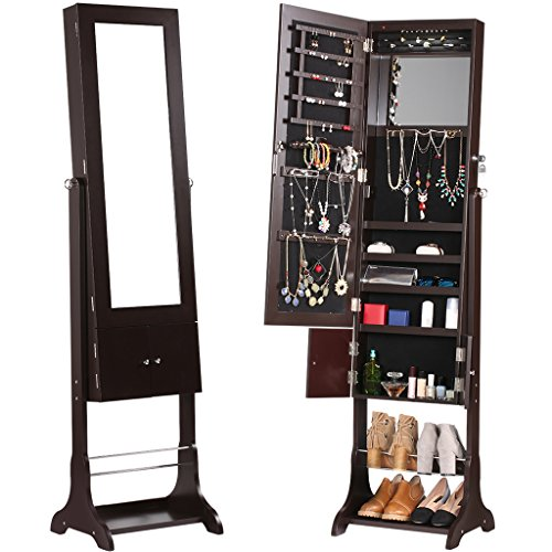 LANGRIA Full-Length Lockable Standing Jewelry Cabinet Armoire and Storage Organizer with Extra Wide Mirror LED lights 2 Drawers for Rings Earrings Bracelets Cosmetics (Brown) by LANGRIA