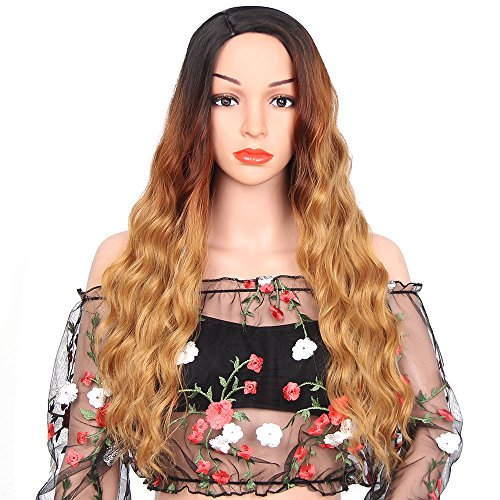 Plastic Body Parts Costumes (ForQueens Natural Long Wave Wig For Women Dark Roots Three Tone Ombre Brown Wigs Synthetic Side Part Body Wave Wigs With Wig Cap)