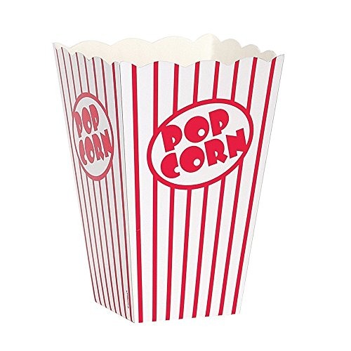 Movie Theater Red and White Striped Popcorn Boxes popcorn box cardboard Popcorn Boxes Popcorn Bucket (10, 8'' x 5) by The Bakers Pantry