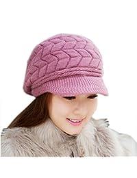Mikey Store Women Hat Winter Skullies Beanies Knitted Hats Rabbit Fur Cap