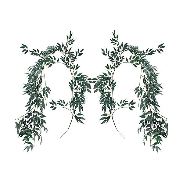 Artificial Hanging Vines Willow Leaves Twigs Silk Plant foliage Fake Greenery Garland String in Green for Indoor/Outdoor Wedding Decor Party Supplies Backdrop Wall Decor Flower Arrangement(2Packs)