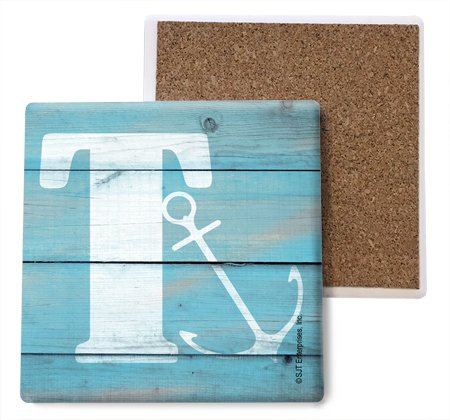 SJT ENTERPRISES, INC. Initial/Letter Lake and Beach Themed Coasters -T Absorbent Stone Coasters, 4-inch (4-Pack) (SJT96881) ()