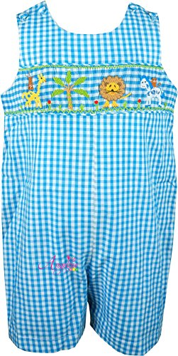 (Angeline Baby Boys Summer Holiday Safari Forest Friends Turquoise Gingham Smocked Shortall)