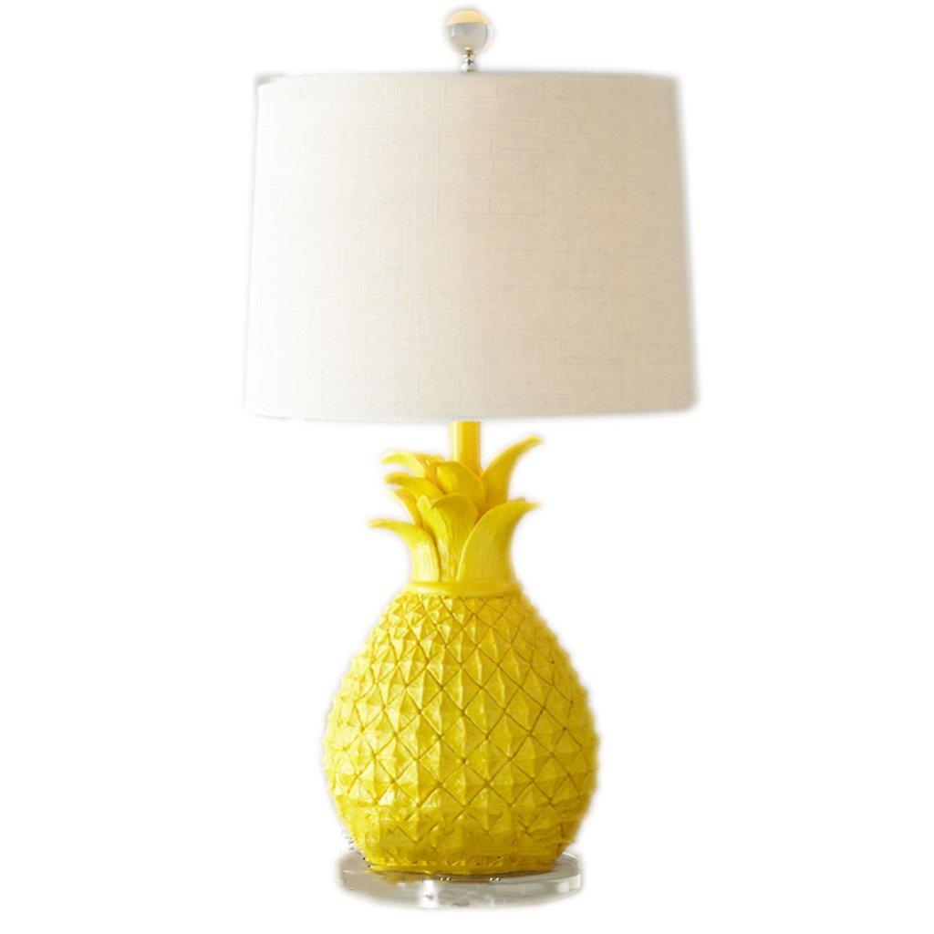 American yellow white pineapple table lamp creative children bedroom bedroom bedside desk light ( Color : Yellow )