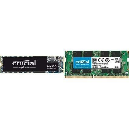 Crucial MX500 CT500MX500SSD4 - Disco Duro sólido Interno SSD de 500 GB (M.2 2280, 3D NAND, SATA) + CT8G4SFS824A Memoria RAM de 8 GB (DDR4, 2400 MT/s, ...