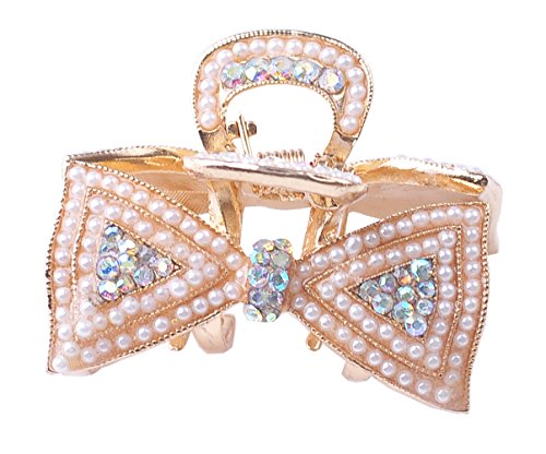 Vintage Painted Multi pearl hair clips Crystal rhinestone flower metal bow hair claw (white)