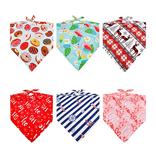REXESP Pet Bandanas 6 Pics Package, Ideal Combo of Dog Bandana, Dog Costume, Dog Scarf, Dog Accessories & Cat Bandana for Any Size Dogs, Cats & Pets in Xmas, Valentines, National Days & Any Occasions!