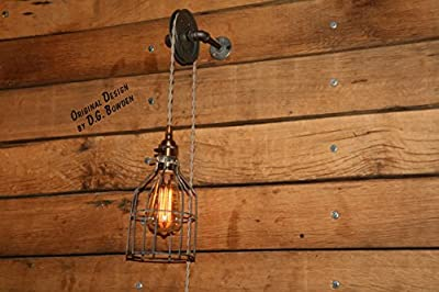 Pulley Wall Mount Light - Industrial Wall Sconce - Pendant Light on Aged Pulley Mount - Built in the USA by Industrial Rewind