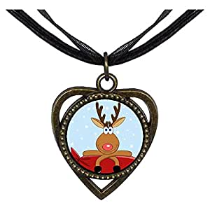 Chicforest Bronze Retro Style Happy Christmas Reindeer Heart Shaped Pendant