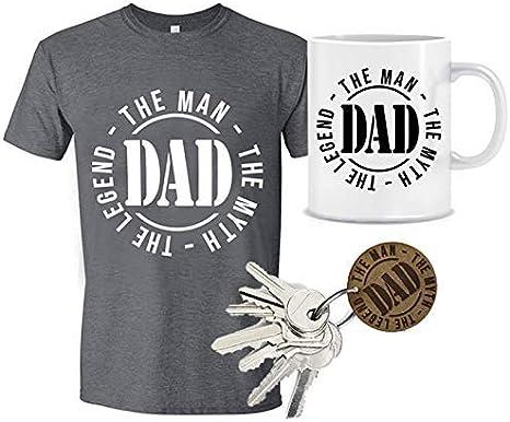 MIMUSELINA Regalo Padres Primerizos | Regalo Original para Papas | Pack Dia del Padre de Camiseta (Talla L), Taza y Llavero de Madera Dad, con Sello