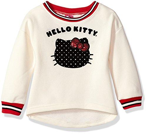 Hello Kitty Big Girls' Sweatshirt with Sugar Glitter Flocking and Fashion Rib, Cream, 12