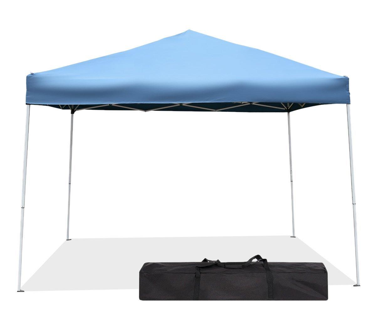Green Garden Pop up Canopy Tent - 10 x 10 Outdoor Straight Leg Party Tent (Blue)
