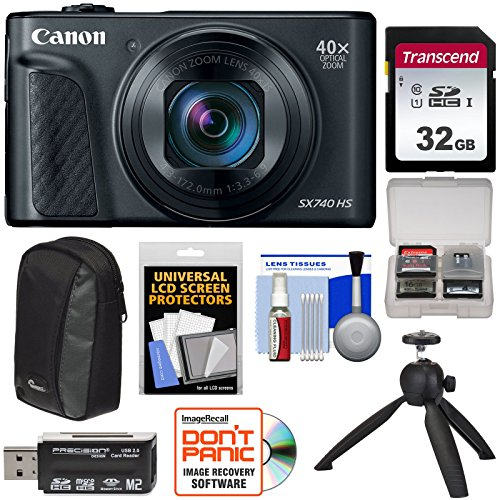 Canon PowerShot SX740 HS Wi-Fi 4K Digital Camera (Black) with 32GB Card + Case + Tripod + Kit