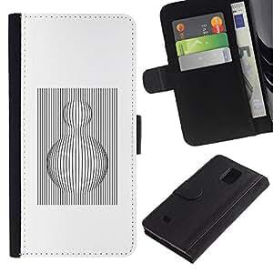 Billetera de Cuero Caso Titular de la tarjeta Carcasa Funda para Samsung Galaxy Note 4 SM-N910 / White Black Sphere Lines Computer / STRONG
