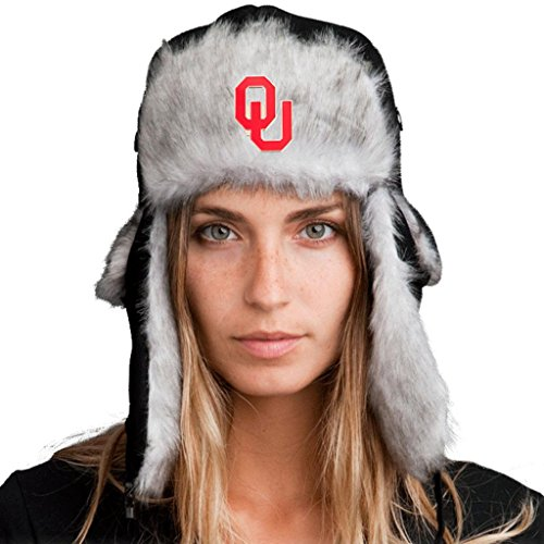 Tundra Gear Trapper Hat + Licensed Oklahoma Sooners Pin Included XL - 62cm Black/Gray