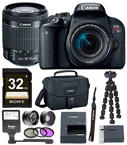 Canon EOS Rebel T7i DSLR Camera w/18-55mm lens + Canon DSLR Bag, Flash, Filter Kits & 32GB Premium Accessory Bundle