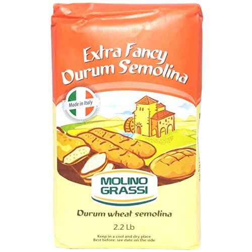 Molino Grassi Extra Fancy Rimacinata Durum Wheat Semolina Flour, 2.2 lbs (Pack of 2)