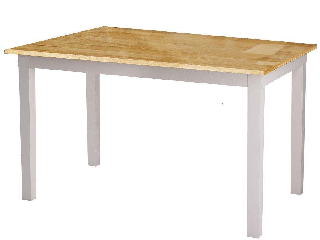 Loft24 Madeira Esszimmertisch 120x75x74 cm Esstisch Küchentisch Holztisch Esszimmer Küche Tisch Massivholz weiß natur