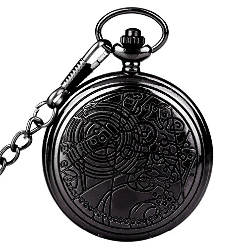 Doctor Who Pocket Watch Dr. Who Men Quartz Chain Black Pendant Necklace Case Antique Full Hunter