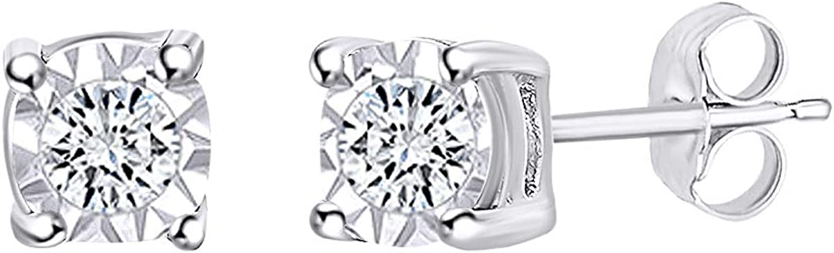 Natural Diamond Miracle Plate Stud Earrings 14k Gold Over Sterling Silver (1/10 cttw, I-J Color, I3 Clarity)
