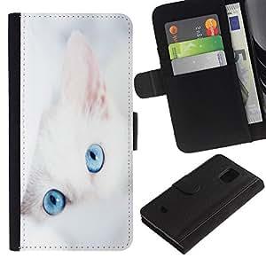 KLONGSHOP / Tirón de la caja Cartera de cuero con ranuras para tarjetas - Cat White Kitten Blue Eyes Portrait Mongrel - Samsung Galaxy S5 Mini, SM-G800, NOT S5 REGULAR!