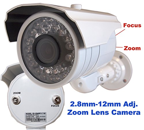 """Evertech 700tvl High Resolution Camera CCTV Security Surveillance Bullet Camera 1/3"""" Sony Color CCD DSP Waterproof Indoor/outdoor Infrared Illumination Nightvision 2.8-12mm Zoom Varifocal Adjustable Lens 36 Leds White Color 3 Axis Mounting Bracket"""