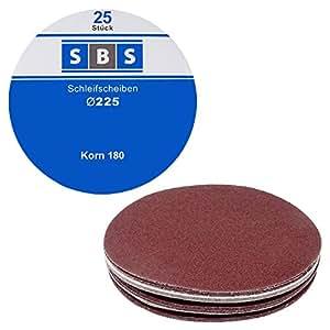SBS Klett de papel de lija (Diámetro de 225mm, 25unidades, grano 180