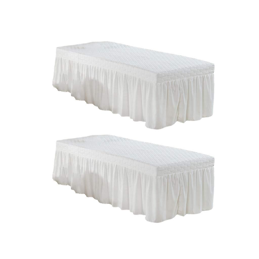 B Blesiya 2Pack White 190x80cm Microfiber Cosmetic Mattress Valance Sheet Massage Table Skirt European Style