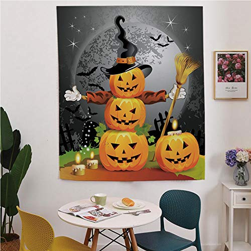 Halloween Blackout Window curtain,Free Punching Magic Stickers Curtain,Cute Pumpkins Funny Composition Traditional Celebration Witches Hat Broomstick,for Living Room,study, kitchen, dormitory, Hotel,M ()